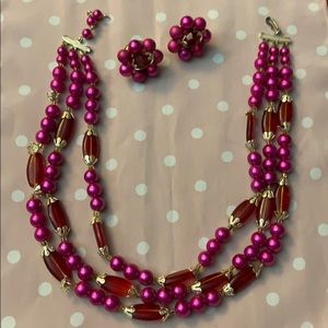 Vintage Fuchsia Necklace with Matching Earrings